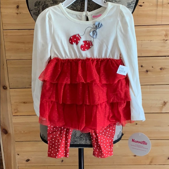 NWT Nannette Baby Girls Red Floral Ruffle Dress /& Leggings Christmas Outfit Set